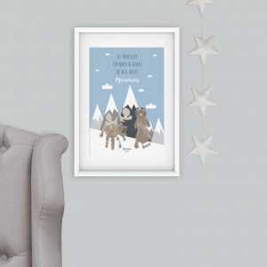 Scandi mountains handprint and footprint nursery art