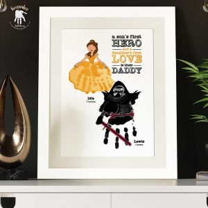 Superhero and Princess Handprints Keepsake for Dad