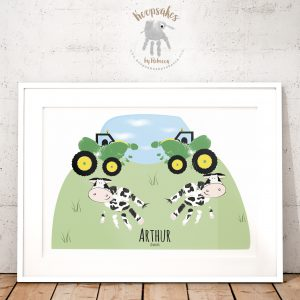 Tractors and Cows Handprints and Footprint Art