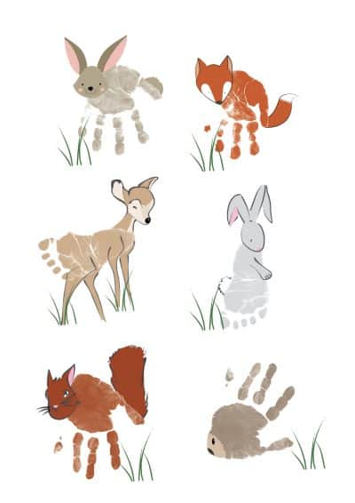 woodland animal handprint art | baby footprint
