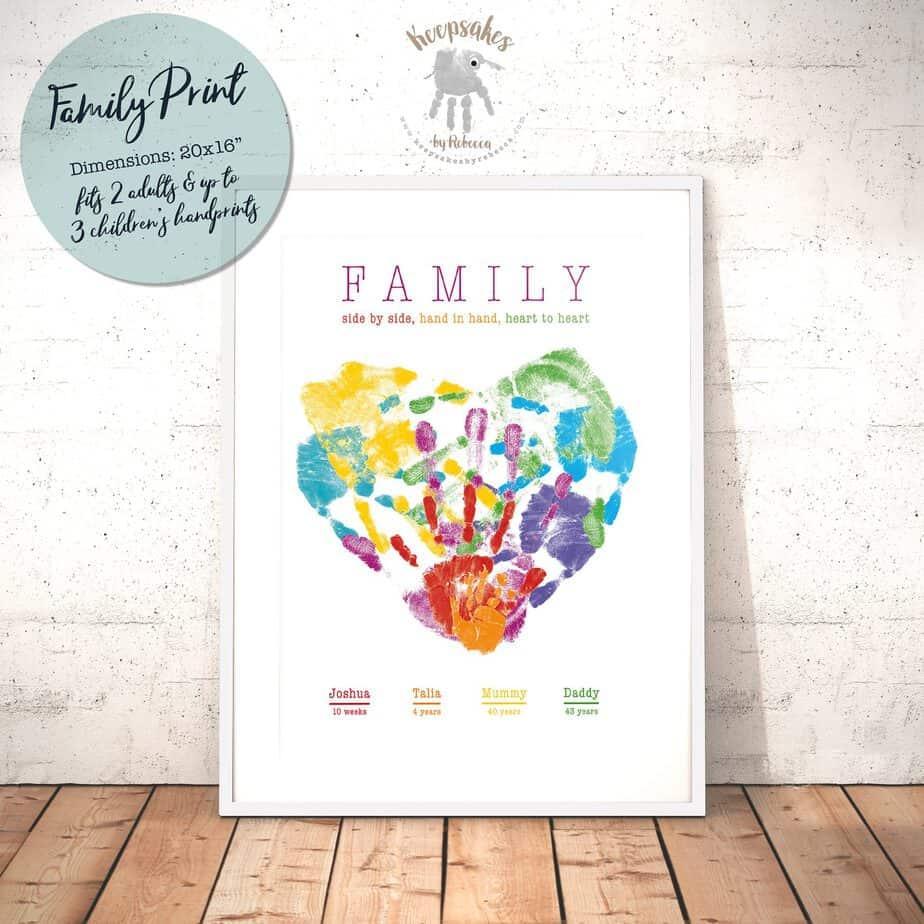 Large Family Handprint Heart