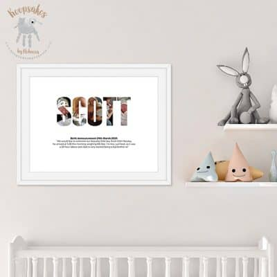 Personalised name picture, Facebook announcement keepsake, photograph keepsake