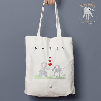 elephant handprint art personalised tote bag for nanny