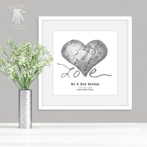 Personalised Map Wedding Heart