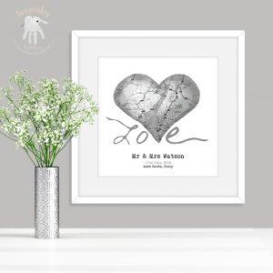 Personalised Map Wedding Heart