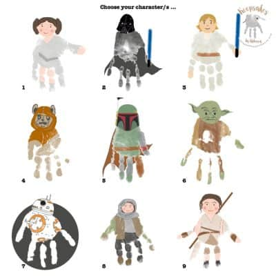 Starwars handprint character selection