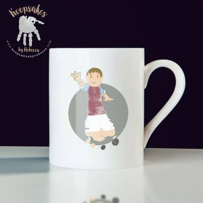 personalised football mug for dad- Aston Villa footprint art