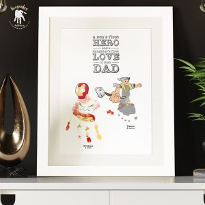 Superhero Dad | Handprint Art | Thor & Ironman