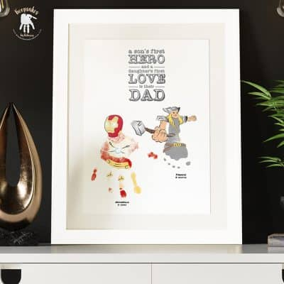 Family quote- gift for Dad from kids. Gift from daughter, gift from son, baby footprint art, Thor, Ironman