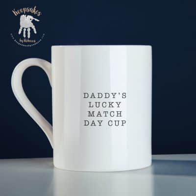 personalised football mug for dad- footprint art