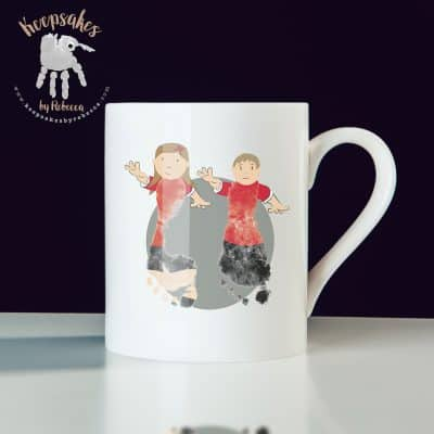 Manchester United personalised mug for dad- footprint art