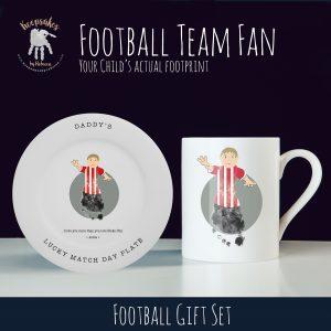 Football themed gift for dad – mug and plate set