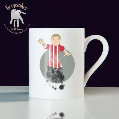 Stoke City personalised mug for dad- footprint art