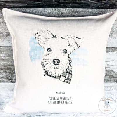 Dog portrait memorial cushion, custom dog portrait, memorial pet pillow, custom dog portrait