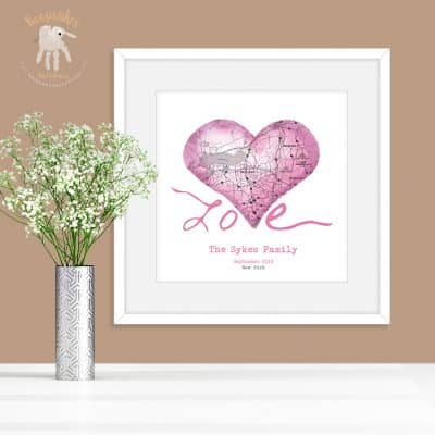 Holiday keepsake | Map art | personalised map | Family Keepsake | pink map art