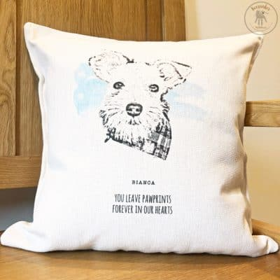Dog portrait memorial cushion