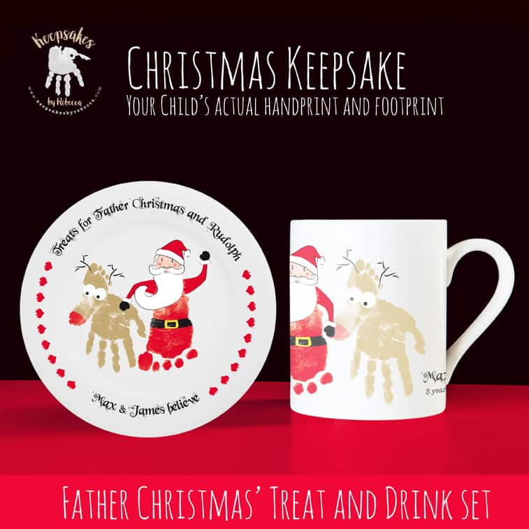 Christmas Plate Set.Personalised Christmas Cup And Plate Set