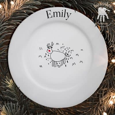 Design-a Reindeer Christmas plate, PTFA fundraising idea. Personalised Christmas plate