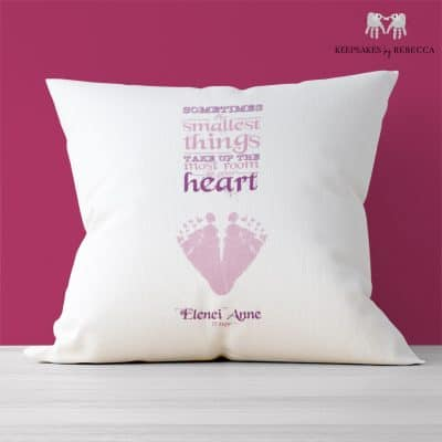 Footprint keepsake cushion