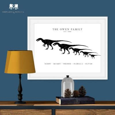 personalised family print, dinosaur family