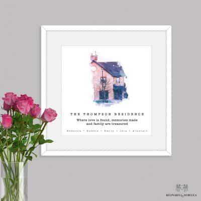 House portrait | personalised house portrait | watercolour house portrait