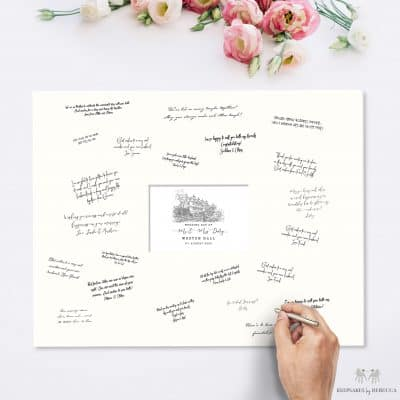 alternative guest book | wedding venue illustration