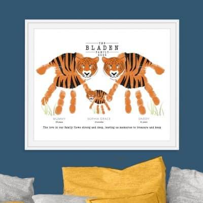 Tiger family hand print keepsake
