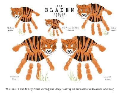 Tiger family hand print keepsake | Family Gifts