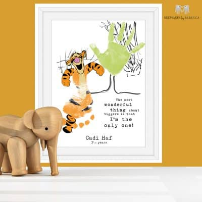 Winnie the Pooh Quote - Tigger Quote | Hand print art | baby footprint