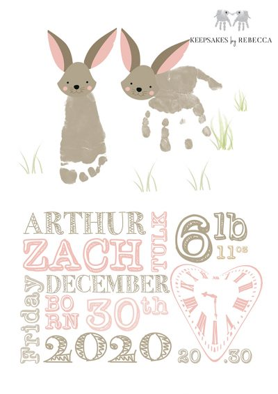 Birth details Keepsake | BABY FOOTPRINT ART