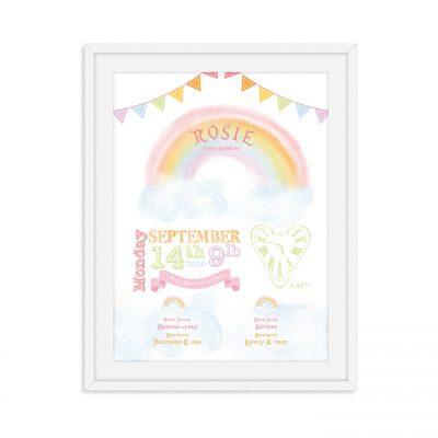 Birth details rainbow | Rainbow personalised print | Personalised Rainbow | New baby gift