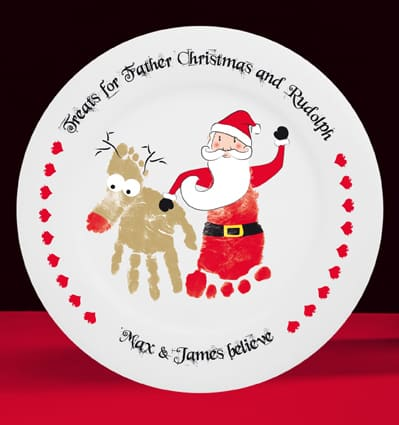 father christmas personalised plate | Santa treat plate | Footprint Christmas plate
