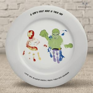 Superhero Handprint plate for Dad