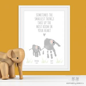 Smallest Things Quote -Sibling handprint Art