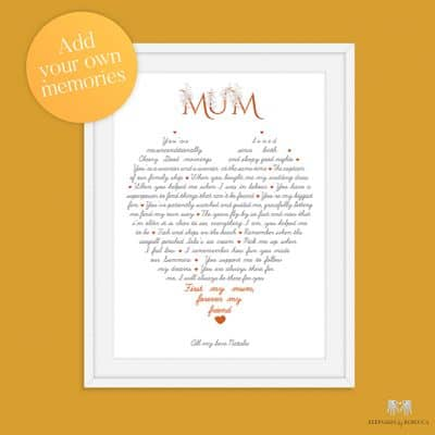 first my mum, personalised print for mum, mother's day print, letter to mum